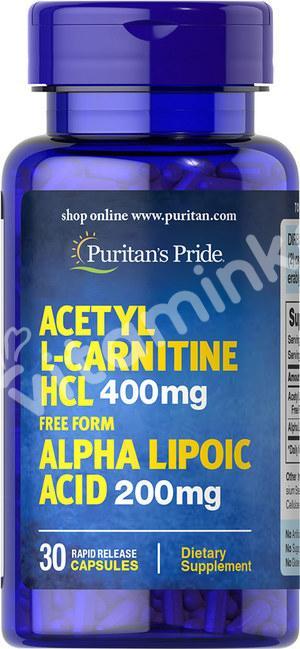 Ацетил Л-карнитин, 400 мг. с альфа-липоевой кислотой 200 мг., Puritan's pride