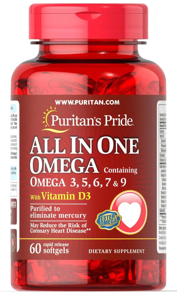 Омега 3, 5, 6, 7, 9 с витамином D-3, Puritan's pride, 60 капсул