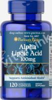 Альфа-липоевая кислота, 100 мг., Puritan's pride, 120 капсул
