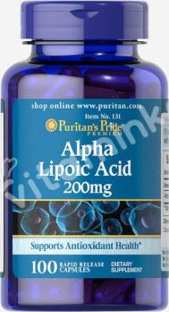 Альфа-липоевая кислота, 200 мг.,  Puritan's pride, 100 капсул