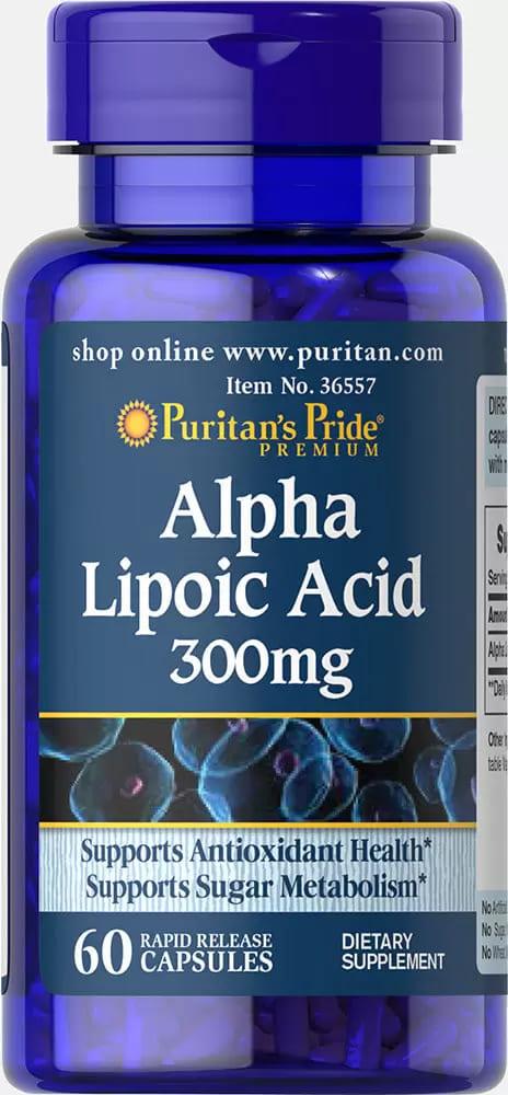 Альфа-липоевая кислота, 300 мг., Puritan's pride, 60 капсул
