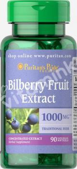 Экстракт черники, 1000 мг.,  Puritan's pride, 90 капсул