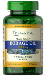 Масло бурачника, Borage oil, 1000 мг., Puritan's pride, 100 капсул