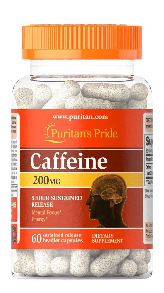 Кофеин, 200 мг.,8-ми часового действия, Puritan's pride, 60 капсул