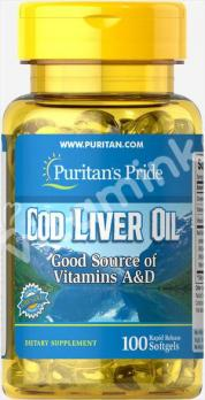 Масло печени трески, 415 мг., Puritan's pride, 100 капсул