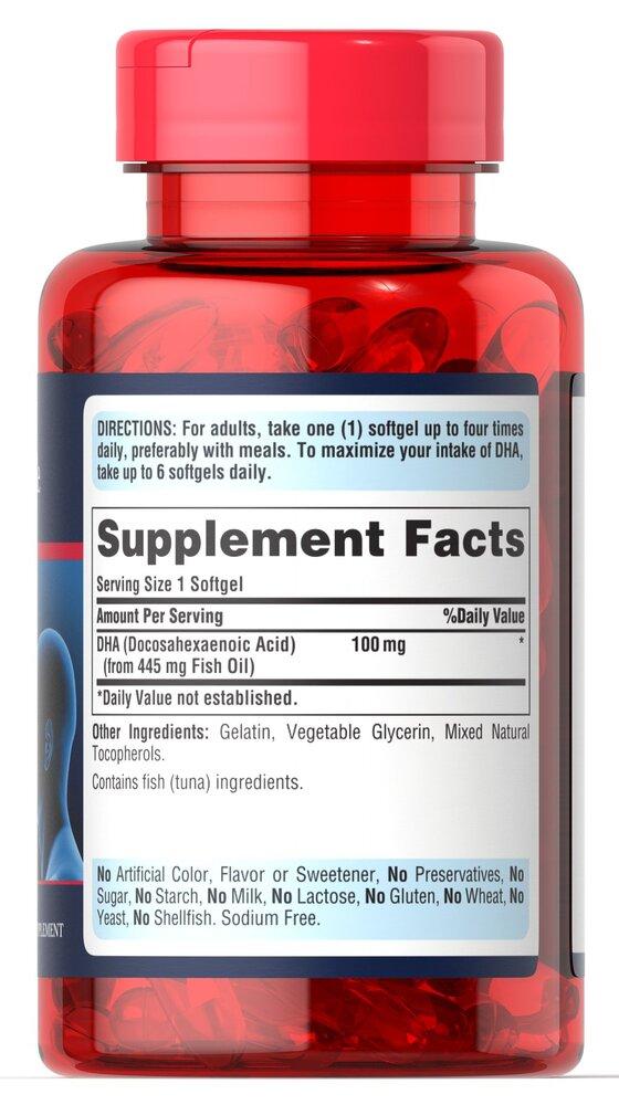 Докогексаеновая кислота, DHA, 100 мг., Puritan's pride, 120 капсул