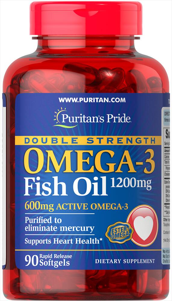 Омега 3, рыбий жир, двойная сила, 1200 мг/600 мг, Puritan's pride