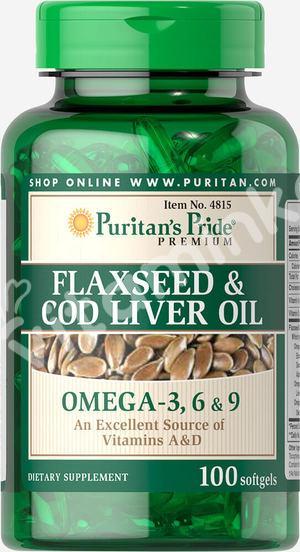 Масло семян льна и печени трески, 1000 мг., Омега 3-6-9, Puritan's pride, 100капсул