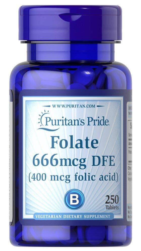 Фолиевая кислота, Фолат, 400 мг., Puritan's pride, 250 таблеток