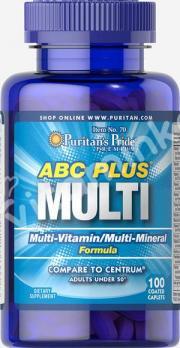 Комплекс витаминов и минералов ABC Plus, Puritan's pride, 100 капсул