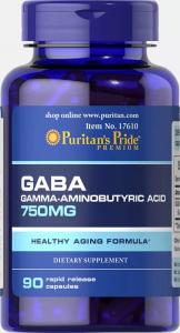 Гамма-аминомаслянная кислота, GABA, 750 мг., Puritan's pride, 90 капсул