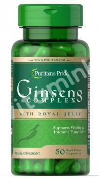 Женьшень с маточным молочком, 1000 мг., Puritan's pride, 50 быстрорастворимых капсул