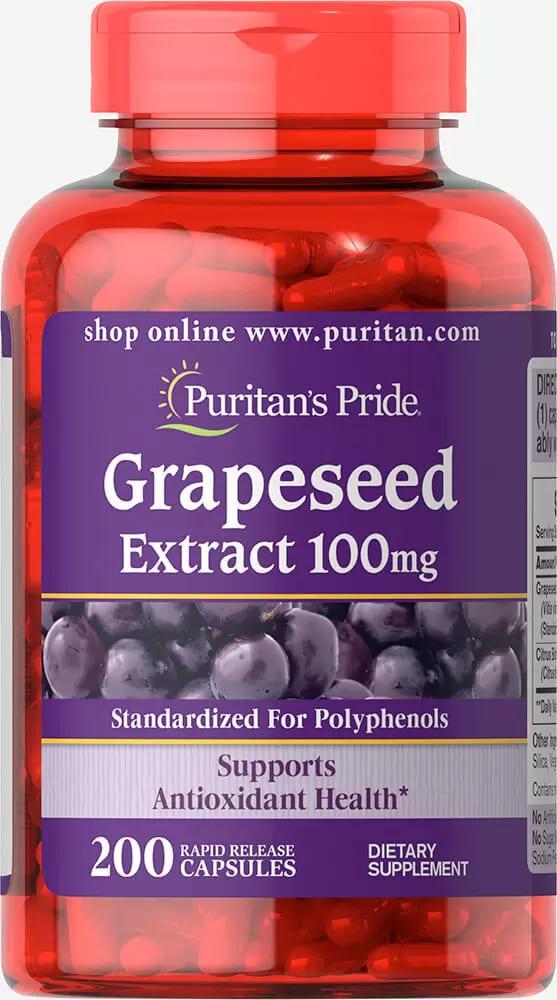 Экстракт виноградных косточек, 100 мг., Puritan's pride