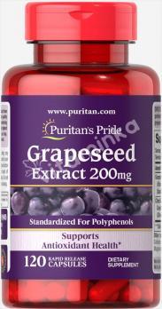 Экстракт виноградных косточек, 200 мг., Puritan's pride, 120 капсул