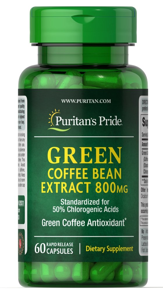 Экстракт зеленого кофе, 800 мг., Puritan's pride, 60 капсул