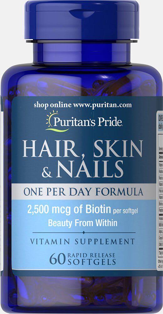 Комплекс для кожи, волос и ногтей, 2500 мкг. биотина, Puritan's pride