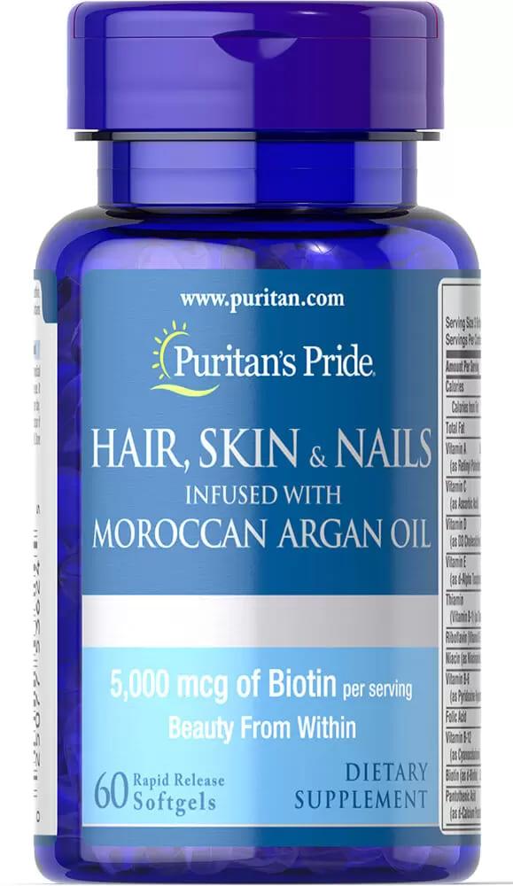 Комплекс для кожи, волос, настоянный на марокканском аргановом масле, Puritan's pride, 60 капсул