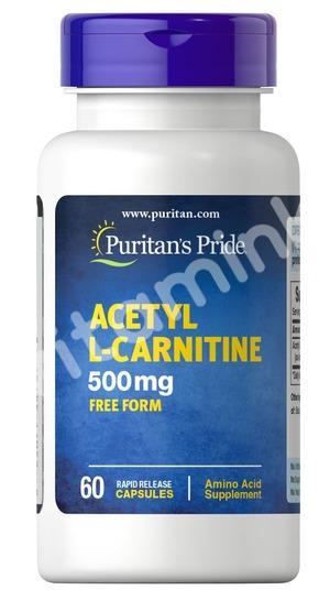 Ацетил Л-карнитин, 500 мг, Puritan's pride, 60 капсул