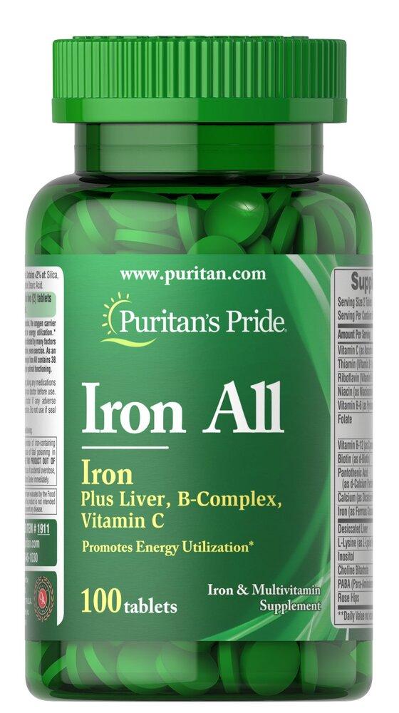 Железо, Puritan's pride, 100 таблеток