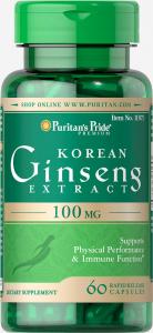 Корейский женьшень, 100 мг., Puritan's pride, 60 капсул
