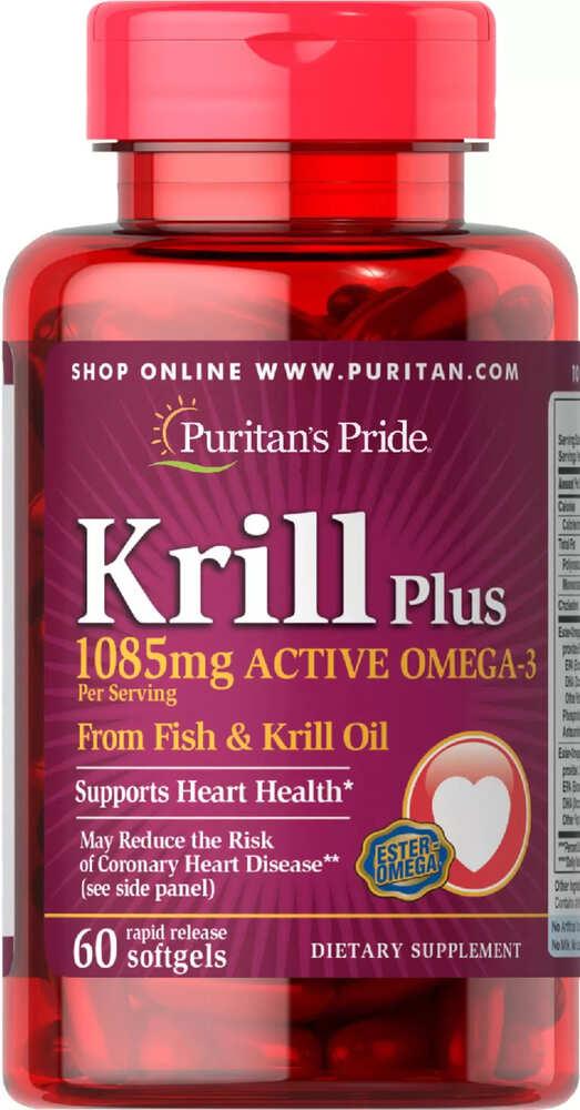 Жир криля, омега 3 концентрат, 1085 мг., Puritan's pride, 60 капсул