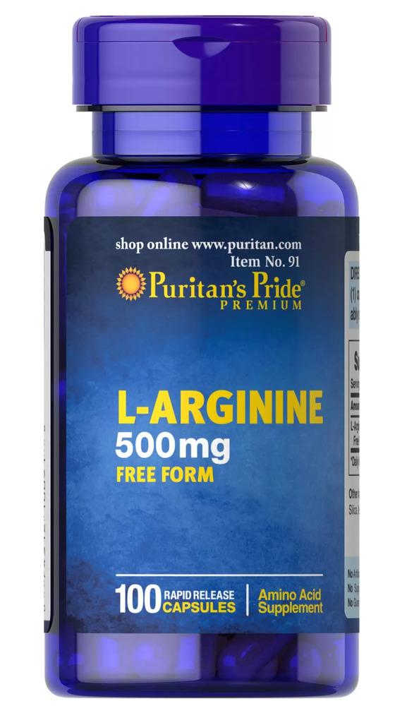Аргинин, 500 мг., Puritan's pride, 100 капсул