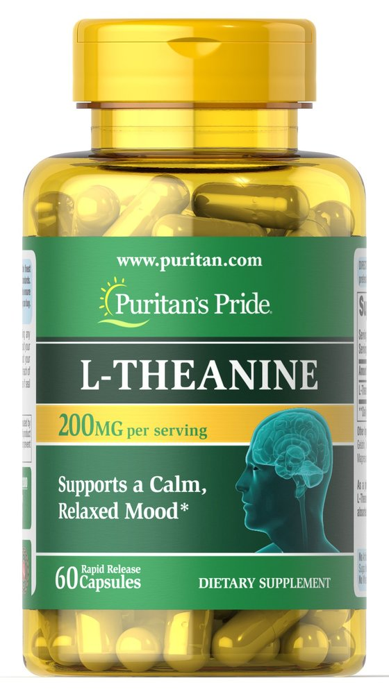 Теанин, 200 мг., Puritan's pride, 60 капсул