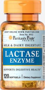 Фермент лактаза, Puritan's pride, 120 капсул