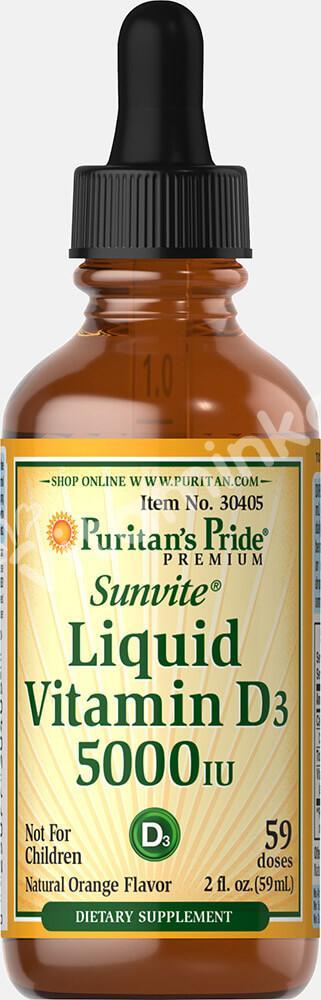 Жидкий витамин D 3, 5000МЕ, Puritan's pride, 60 мл