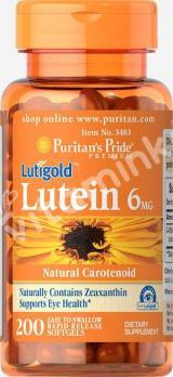 Лютеин 6 мг. с зеаксантином, Puritan's pride, 200 капсул