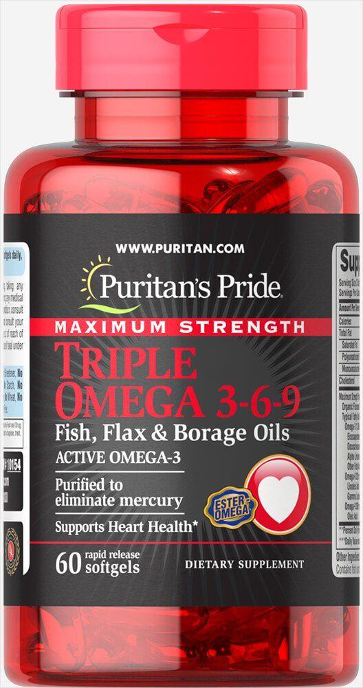 Омега 3-6-9, максимальный эффект, Puritan's pride