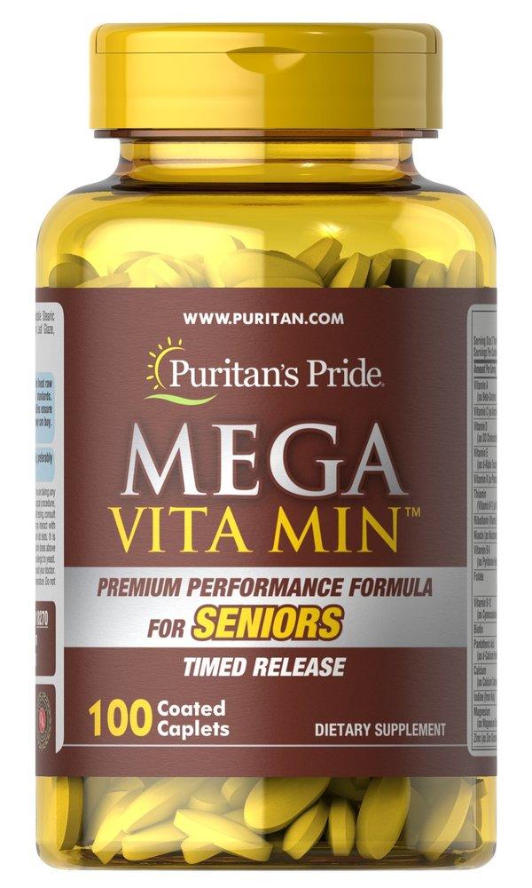 Мультивитамины для пожилых людей, Mega Vita Min, Puritan's pride, 100 капсул