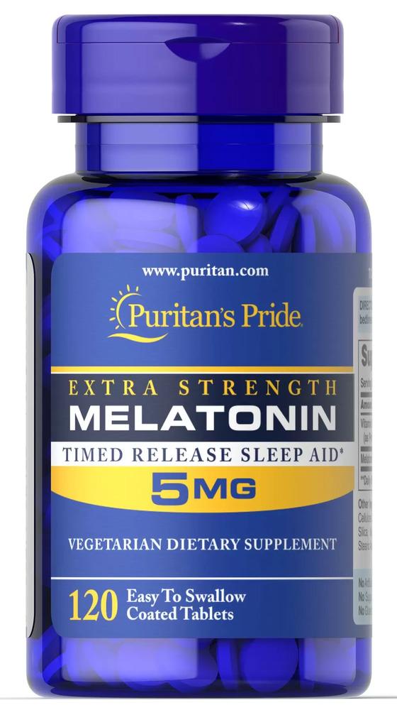 Мелатонин медленного действия, 5 мг., Puritan's pride, 120 таблеток