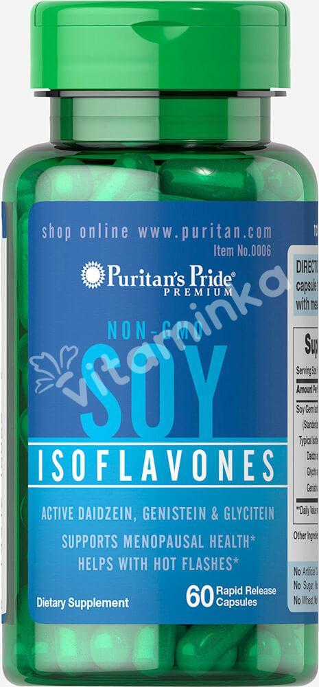 Изофлавоны ростков сои, без ГМО, 750 мг., Puritan's pride, 60 быстрорастворимых капсул
