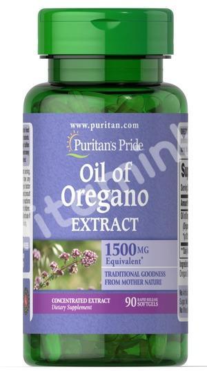 Экстракт масла орегано, 1500 мг., Puritan's pride, 90 капсул