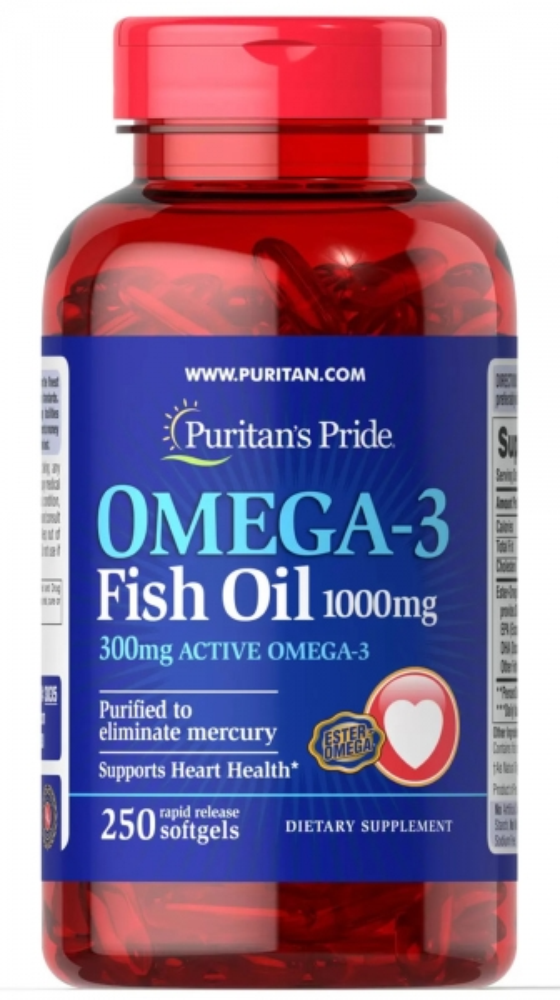 Рыбий жир, 1000 мг., (300 мг. активной омеги-3), Puritan's pride