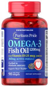 Омега-3, 1200 мг., с витамином D 3, 1000 МЕ, Puritan's pride, 90 капсул