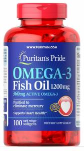 Рыбий жир, 1200 мг., (360 мг. активной омеги-3), Puritan's pride, 100 капсул