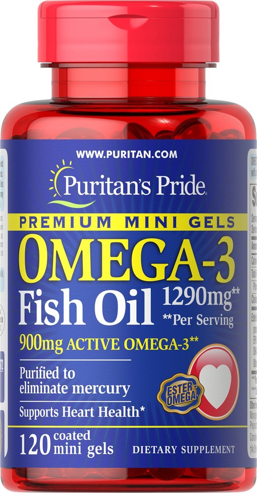 Омега-3, 1290 мг., (450 мг. активной омеги-3), Puritan's pride, 120 мини капсул