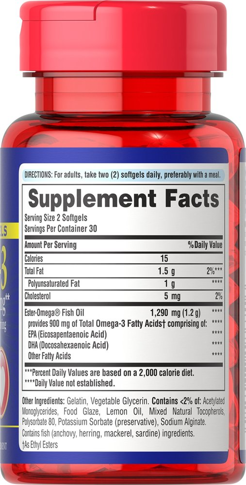 Рыбий жир, 1290 мг., (900 мг. активной омеги-3), Puritan's pride, 60 мини капсул