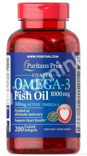 Рыбий жир, 1000 мг., (300 мг. активной омега-3), Puritan's pride, 200 капсул