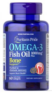 Омега-3, 1000 мг., с поддержкой костей, Puritan's pride, 60 капсул