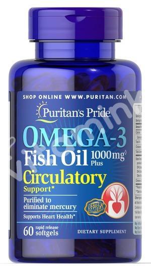 Рыбий жир, 1000 мг., с поддержкой кровообращения, Puritan's pride, 60 капсул