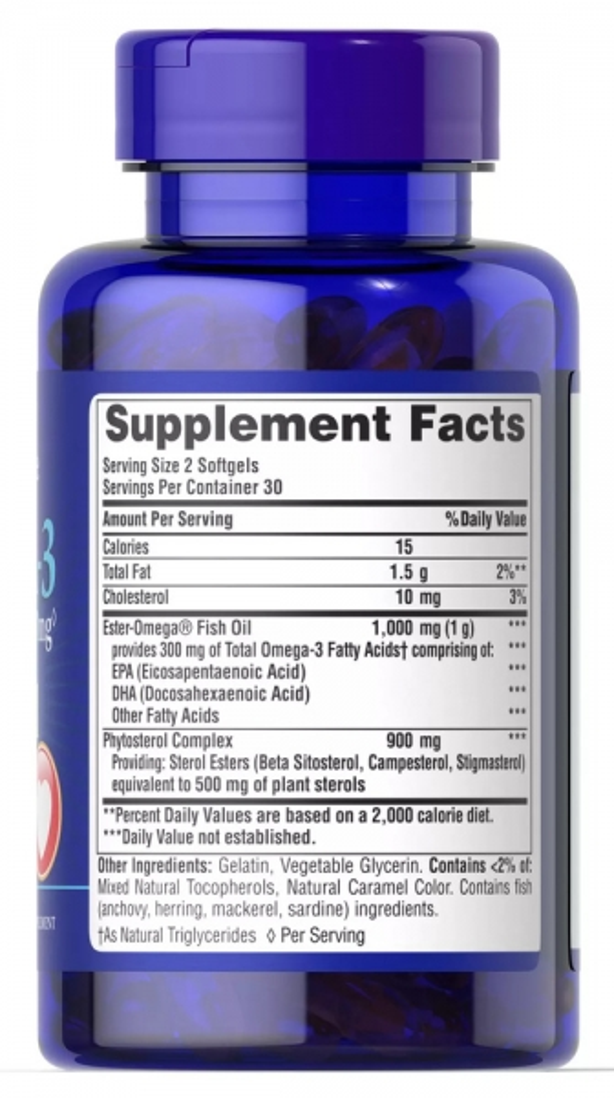 Омега-3, 1000 мг., с контролем холестерина, Puritan's pride, 60 капсул