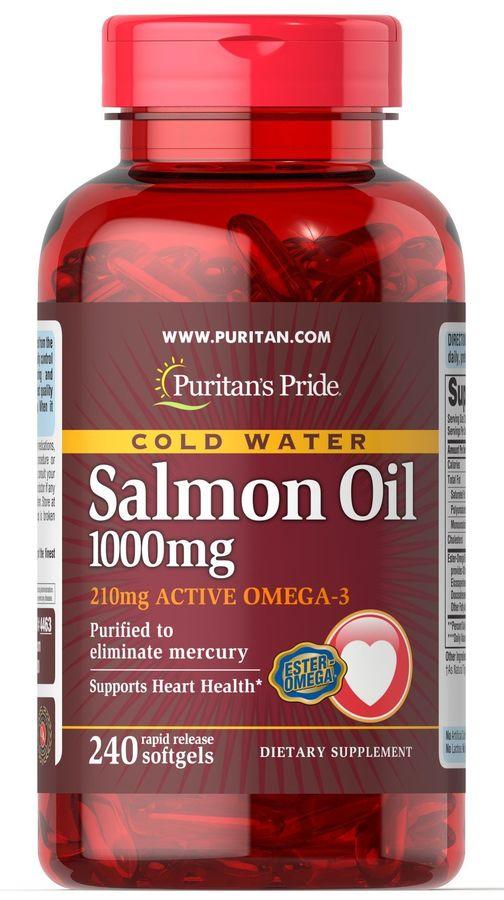 Жир лосося, 1000 мг., (210 мг. Активной омега-3), Puritan's pride