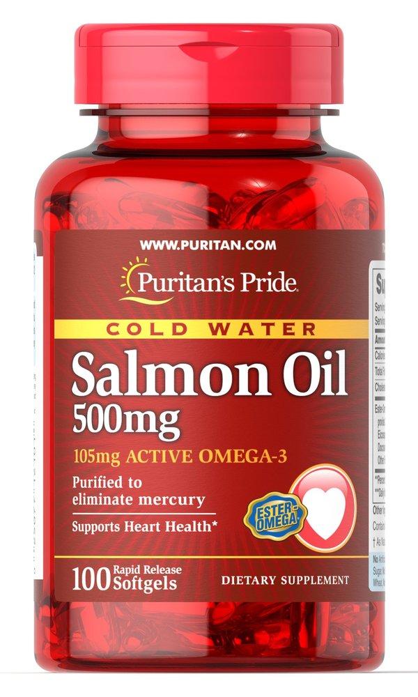 Жир лосося, 500 мг., (105 мг. Активной омега-3), Puritan's pride, 100 капсул