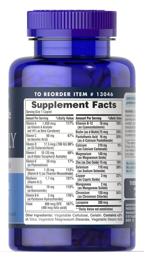 Мультивитамины для мужчин, One Daily, Puritan's pride, 100 капсул