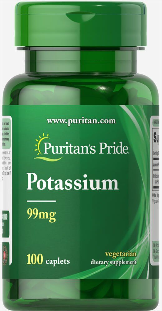 Калий, 99 мг., Puritan's pride, 100 капсул