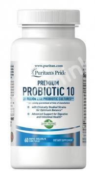 Пробиотики, 20 миллиардов живых культур, Puritan's pride, 60 капсул
