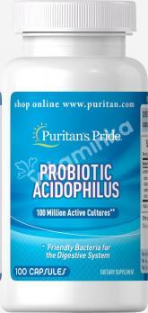 Пробиотик, ацидофильньные лактобактерии, Puritan's pride, 100 капсул